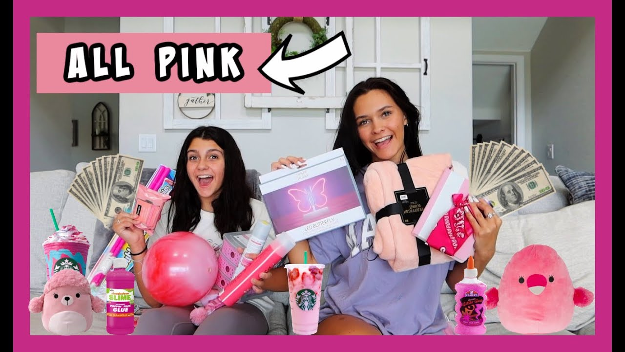 NO BUDGET *PINK ONLY* SHOPPING CHALLENGE! EMMA AND ELLIE