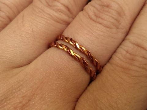 Simple twisted copper ring - DIY wire jewelry 58