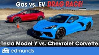 Drag Race! Tesla Model Y vs. Chevy Corvette | Gas vs. EV Drag Race | 0-60 Performance & More