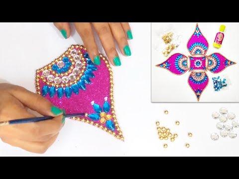 How to make Easy & Attractive Rearrangable KUNDAN RANGOLI | Diwali Decoration Ideas | DIWALI SPECIAL