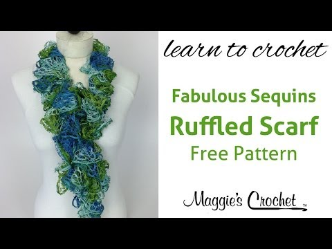 30 Minute Easy Ruffled Scarf with Mary Maxim Fabulous Sequins Yarn - Right Handed