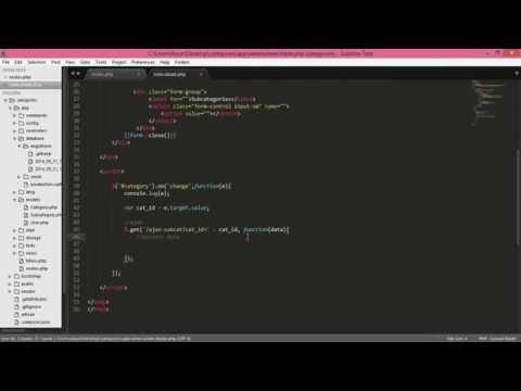laravel, jquery   ajax categories and subcategories, select dropdown