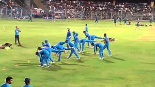 Team india doing exercise in warm up match during india vs south africa in mumbai 12-03-2016
