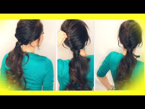 ★ SCHOOL HAIRSTYLE TUTORIAL | HALF FRENCH FISHTAIL BRAID FANCY PONYTAIL | MEDIUM LONG HAIR