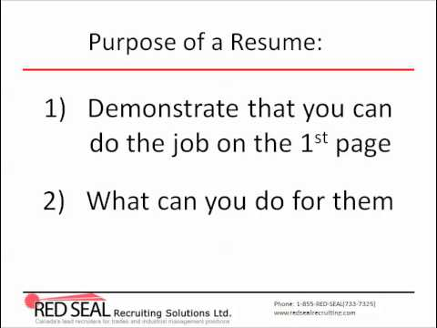 How to Write a Canadian Resume (Part 1): Purpose of a Resume