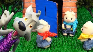Kids Story with Calico Critters Toys - The Three Little Pigs & the Big Bad Wolf + Houses DIY