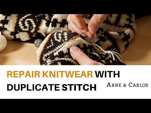 How to repair a worn out sweater using duplicate stitches by ARNE & CARLOS