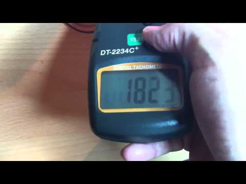 Measuring fan speed with handheld digital tachometer