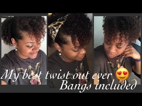Best twist out using only 2 products | No cut Bangs