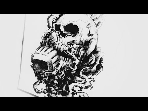 How to draw a Skull & Rose Tattoo design | Body Tattoo | 2018 update