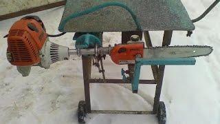 Заготовка дров. Пилим дрова одинаковой длины. Бензокоса ШТИЛЬ в помощь. Sawing wood the same length.
