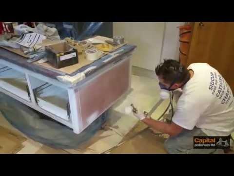 Paint spraying kitchen cabinets - SieMatic kitchen refinishing, respraying doors