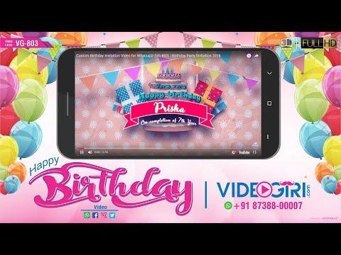 Custom Birthday Invitation Video for Whatsapp (VG-803) | Birthday Party Invitation 2018