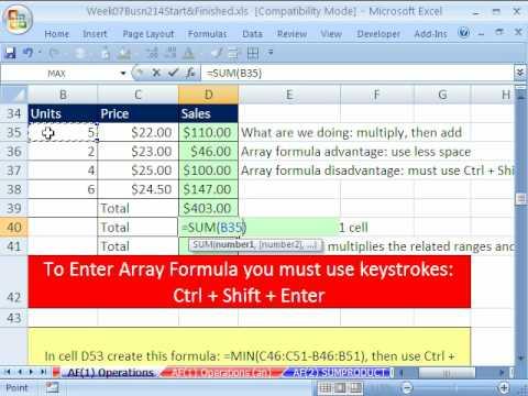 Highline Excel Class 36: Array Formulas Basics
