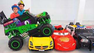 Download Vlad and Nikita ride on toy monster truck and goes through the cars for kids Video