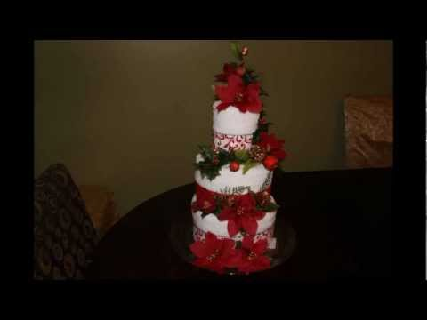 DIY How to make a towel cake - Christmas theme