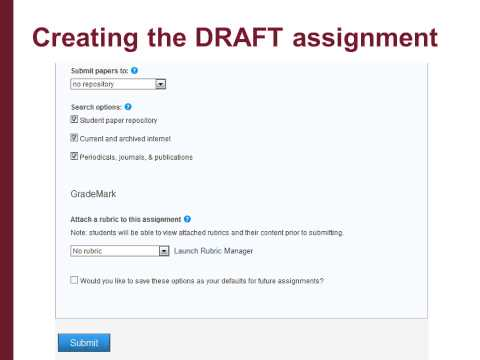 Setting up a Turnitin eSubmission Area