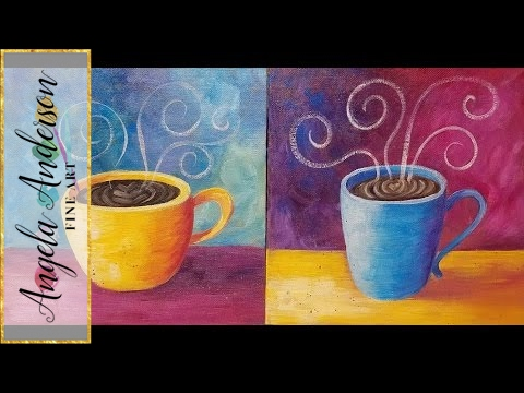 COFFEE Cup Acrylic Painting Tutorial LIVE Easy Beginner Kitchen Art FREE lesson