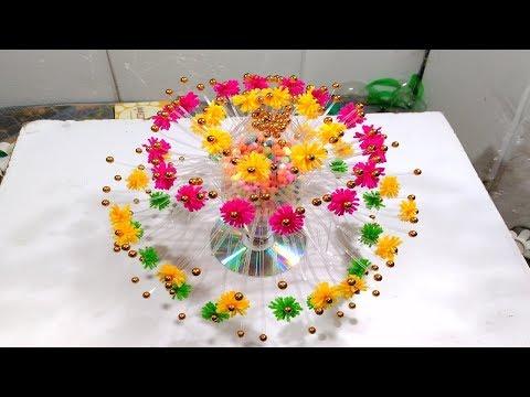 Empty Plastic Bottle Vase Making Craft, Water Bottle Recycle Flower Vase Art Decoration new Idea