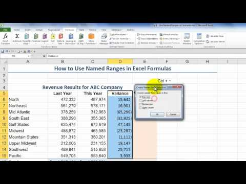How to Create Named Ranges to Use in Excel Formulas