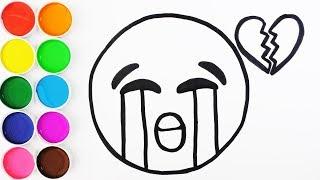 Como Dibujar y Colorear Un Emoji Llorando - Dibujos Para Niños y Bebes - Learn Colors / FunKeep