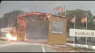 El fuego consume la portada del Camping Doñana (Josué Correa)