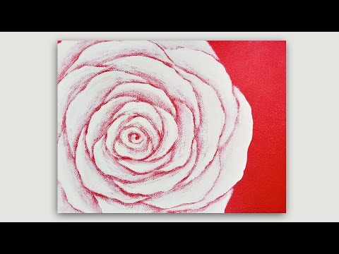 Acrylic Painting White Rose on Red Background Dry Brush Technique