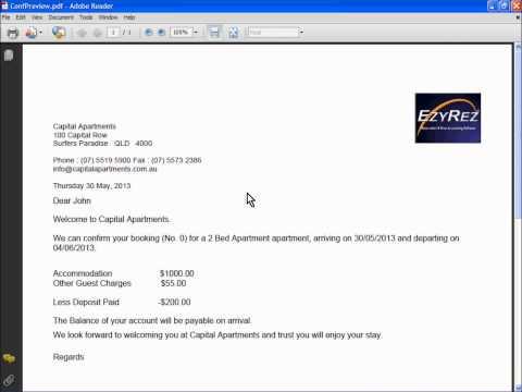 EzyRez - Confirmation Letters and other PDF letters