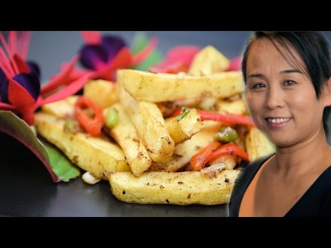 Spicy Parsnip Fries Recipe (Chinese Vegetarian Cooking Recipe)