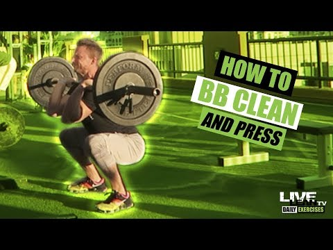 How To Do A BARBELL CLEAN AND PRESS | Exercise Demonstration Video and Guide