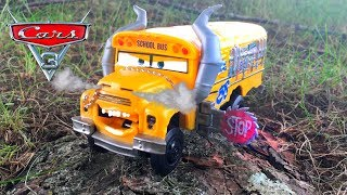 Disney Pixar Cars 3 Toys Chomp and Chase Miss Fritter Demolition School Bus Unboxing Video for Kids!