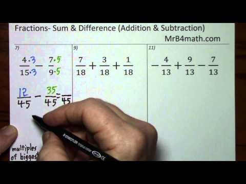 Fractions- Sum & Difference (Addition & Subtraction)