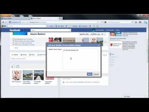 Facebook Profile Timeline - Hide or UnHide Recent Activity - March 2012