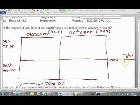 How to Find One Interior or Exterior Angle of a Polygon