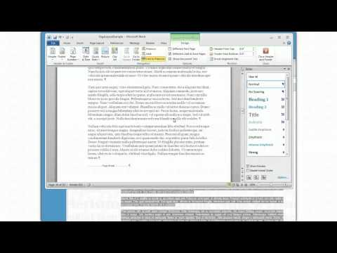 MS Word 2010 Complex page layout