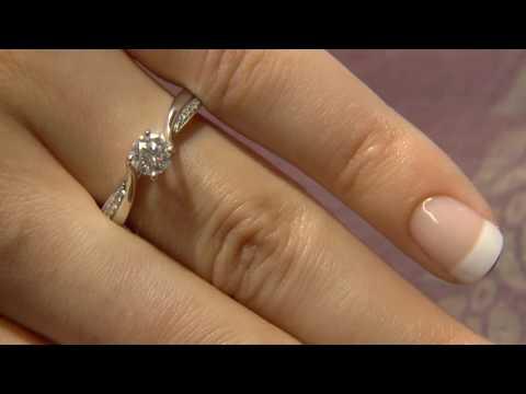 PR1008 0.63 Carat Twist Side Stone Engagement ring