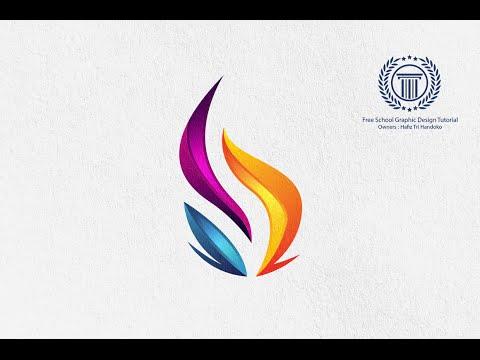 Tutorial Adobe Illustrator | Making 3d Flame Fire logo Design for beginner | Shield Pen Tool