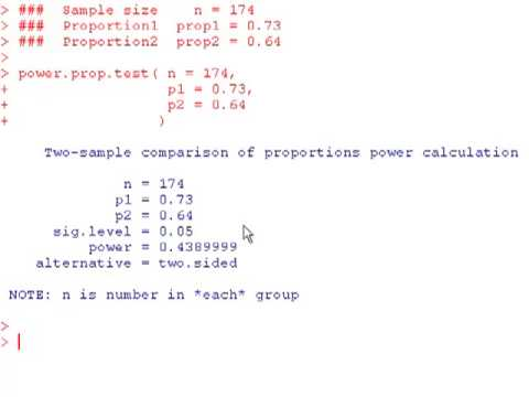 Power and Sample Size on a Two Sample Test on Proportions