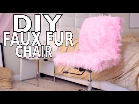 DIY FAUX FUR DESK CHAIR!!