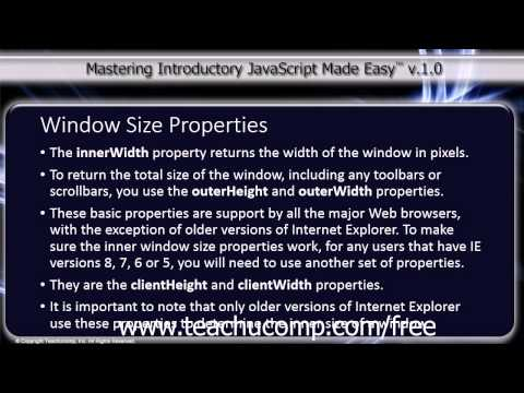 JavaScript Training Tutorial Window Size Properties