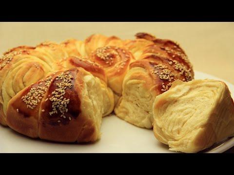 Turkish Puff Pastry - Pogaca Cake with Sesame Seeds