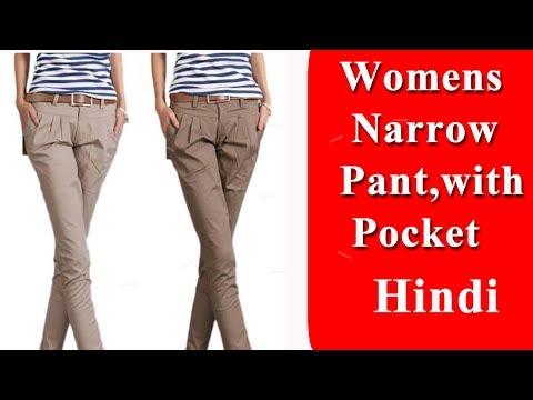 Womens narrow pant with pocket cutting and stitching DIY Tutorial Hindi
