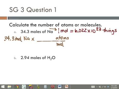10 SG3 #1 Calculate number of atoms from moles