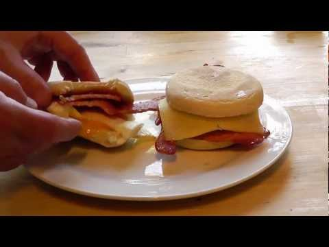Breakfast recipe Egg & Bacon English Muffin How to make snack food recipe