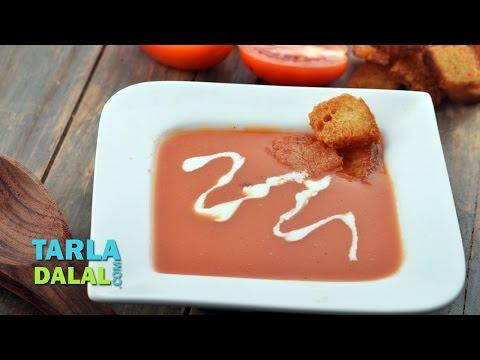 टमाटर सूप की क्रीम, टमाटर शोरबा रेसिपी (Cream of Tomato Soup, Tomato Shorba) by Tarla Dalal