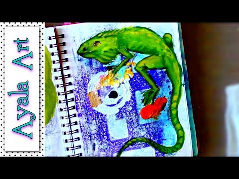 #pawgustart Iguana journal page C. A. C.  Animal theme in August
