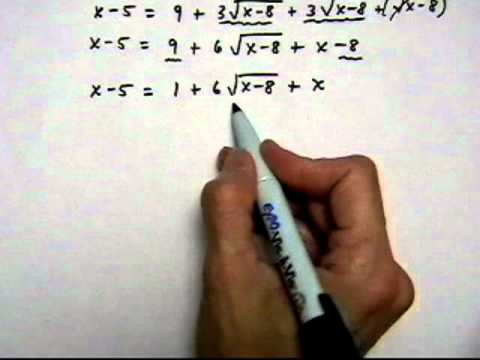 solve square root equation with two square roots, no solution - (cr).mov