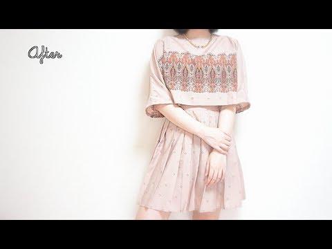 Refashion DIY ✂️ Vintage long skirt to Boat neck Crop Top dressㅣmadebyaya