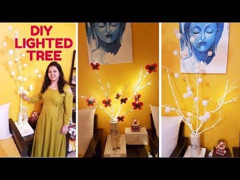 DIY Home Decor | Lighted Tree Branch | Christmas Decoration Ideas 2017 | Maitreyee's Passion