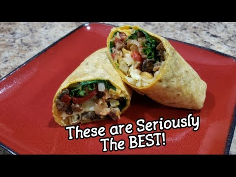 Delicious Breakfast Burritos - Veggie Loaded with Sausage, Egg & Cheese - Healthy Breakfast Idea